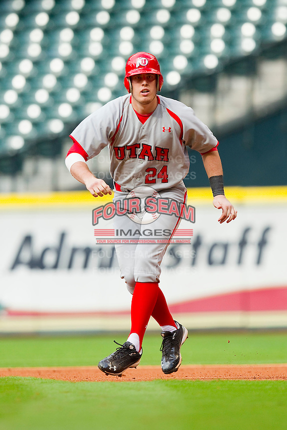 C.J. Cron #24 of the Utah Utes takes his lead off of first base against the Texas A&M Aggies at Minute Maid Park on March 4, 2011 in Houston, Texas.  Photo by Brian Westerholt / Four Seam Images