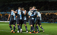 Goalscorers Garry Thompson (7) of Wycombe Wanderers & Jason McCarthy of Wycombe Wanderers embrace during the Sky Bet League 2 match between Wycombe Wanderers and Oxford United at Adams Park, High Wycombe, England on 19 December 2015. Photo by Andy Rowland.