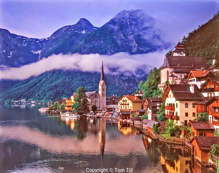 "Morning Fog at Hallstatt, the ""World's most beautiful lakeside village"", Salzkammergut, Austria"