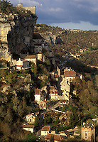 France, Rocamadour, Dordogne, Perigord, Midi-Pyrenees, Lot, medieval village, Europe, The fortified pilgrimage town of Rocamadour situated on the terraced limestone cliffs.