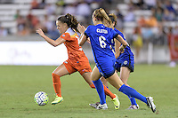 Houston, TX - Sunday Sept. 25, 2016: Andressa Machry, Lindsay Elston during a regular season National Women's Soccer League (NWSL) match between the Houston Dash and the Seattle Reign FC at BBVA Compass Stadium.