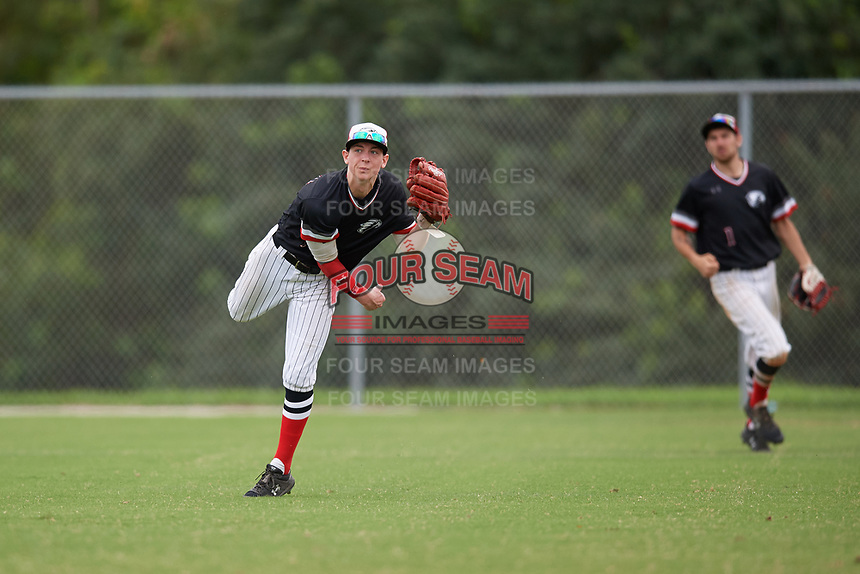Edgewood Eagles right fielder Casey Willis (10) during a game against the Babson Beavers on March 18, 2019 at Lee County Player Development Complex in Fort Myers, Florida.  Babson defeated Edgewood 23-7.  (Mike Janes/Four Seam Images)