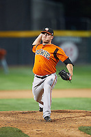 Bowie Baysox relief pitcher Bobby Bundy (28) during a game against the Erie SeaWolves on May 12, 2016 at Jerry Uht Park in Erie, Pennsylvania.  Bowie defeated Erie 6-5.  (Mike Janes/Four Seam Images)