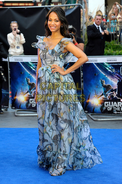 LONDON, ENGLAND - JULY 24: Zoe Saldana attends the UK Premiere of 'Guardians of the Galaxy' at Empire Leicester Square on July 24, 2014 in London, England.<br /> CAP/CJ<br /> &copy;Chris Joseph/Capital Pictures