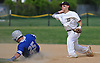 Anthony D'Onofrio #17, Wantagh shortstop, right, throws to first base to complete a double play in the top of the first inning of a Nassau County varsity baseball game against Division Avenue at Wantagh High School on Thursday, May 4, 2017. Wantagh won by a score of 7-6.