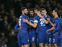 Chelsea's Ruben Loftus-Cheek is congratulated after scoring his side's second goal<br /> <br /> Photographer Rob Newell/CameraSport<br /> <br /> UEFA Europa League Group L - Chelsea v FC BATE Borisov - Thursday 25th October - Stamford Bridge - London<br />  <br /> World Copyright © 2018 CameraSport. All rights reserved. 43 Linden Ave. Countesthorpe. Leicester. England. LE8 5PG - Tel: +44 (0) 116 277 4147 - admin@camerasport.com - www.camerasport.com