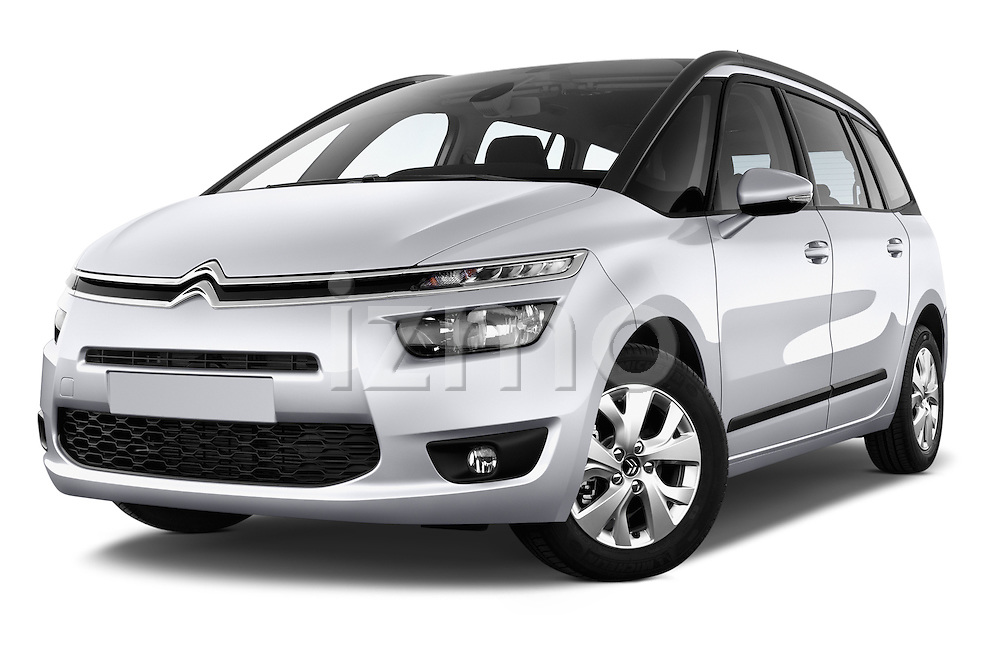 Low aggressive front three quarter view of a 2013 Citroen GRAND C4 PICASSO Intensive 5 Door Minivan 2WD
