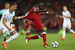 Sadio Mane of Liverpool and Sandro Wagner of Hoffenheim during the Champions League playoff round at the Anfield Stadium, Liverpool. Picture date 23rd August 2017. Picture credit should read: Lynne Cameron/Sportimage