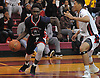 KC Ndefo #21 of Team Nassau (Elmont HS), left, looks to get to the net during the Alzheimer's All-Star Basketball Classic against Team Suffolk at Bay Shore High School on Sunday, Oct. 23, 2016. He was named game MVP in Nassau's 87-82 win.