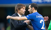 Chelsea manager Antonio Conte with David Zappacosta of Chelsea at full time during the Premier League match between Chelsea and Watford at Stamford Bridge, London, England on 21 October 2017. Photo by Andy Rowland.