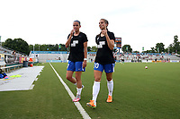 Cary, North Carolina  - Saturday June 17, 2017: Amanda Frisbie, Kylie Strom prior to a regular season National Women's Soccer League (NWSL) match between the North Carolina Courage and the Boston Breakers at Sahlen's Stadium at WakeMed Soccer Park. The Courage won the game 3-1.