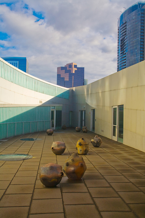 Bellevue Arts Museum, Bellevue, Washington State, Pacific Northwest, USA, main display, BAM specializes in arts, craft and design, Roof deck art,.