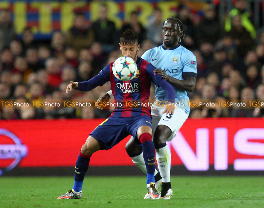 Bacary Sagna of Manchester City and Neymar of FC Barcelona - FC Barcelona vs Manchester City - European Champions League Round of Sixteen Football at the Camp Nou Stadium on  18/03/15 - MANDATORY CREDIT: Dave Simpson/TGSPHOTO - Self billing applies where appropriate - 0845 094 6026 - contact@tgsphoto.co.uk - NO UNPAID USE