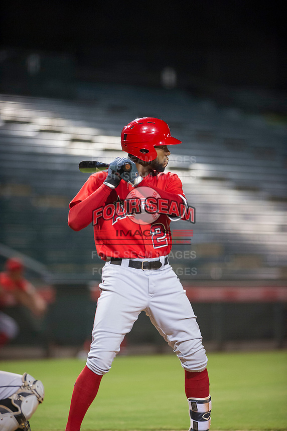 AZL Angels designated hitter Jordon Adell (25) at bat against the AZL White Sox on August 14, 2017 at Diablo Stadium in Tempe, Arizona. AZL Angels defeated the AZL White Sox 3-2. (Zachary Lucy/Four Seam Images)