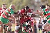 Mike Poa and Luke Rosa look to stop Joseva Talacolo. Counties Manukau Premier 1 Club Rugby game between Karaka and Waiuku, played at the Karaka Sports Park on Saturday May 11th 2019. Karaka won the game 33 - 14 after leading 14 - 7 at halftime.<br /> Photo by Richard Spranger.