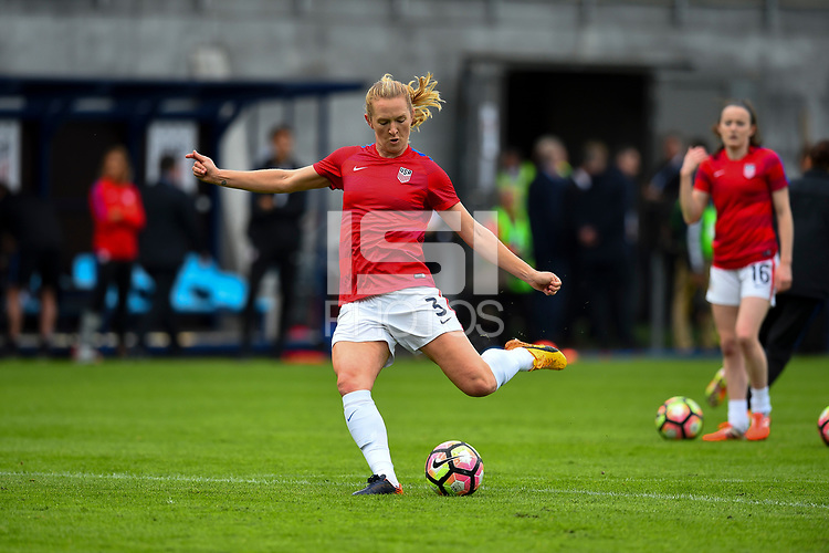 Sandefjord, Norway - June 11, 2017: Becky Sauerbrunn warms up prior to their game  vs Norway in an international friendly at Komplett Arena.