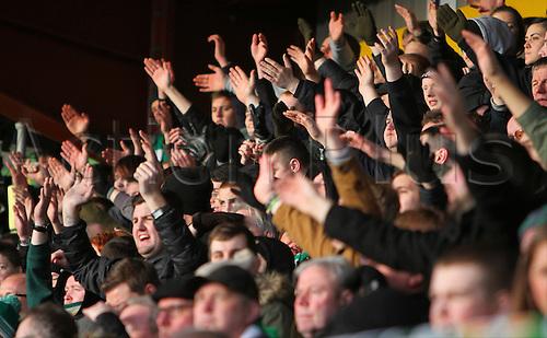 24.01.2015.  Dingwall, Scotland. Scottish Premier League. Ross County versus Celtic. Celtic fans celebrate the win