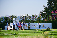 Hideki Matsuyama (JPN) hits his tee shot on 10 during round 1 foursomes of the 2017 President's Cup, Liberty National Golf Club, Jersey City, New Jersey, USA. 9/28/2017.<br /> Picture: Golffile   Ken Murray<br /> ll photo usage must carry mandatory copyright credit (&copy; Golffile   Ken Murray)