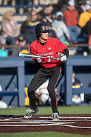 Rutgers Scarlet Knights outfielder Kevin Blum (39) squares to bunt against the Michigan Wolverines on April 26, 2019 in the NCAA baseball game at Ray Fisher Stadium in Ann Arbor, Michigan. Michigan defeated Rutgers 8-3. (Andrew Woolley/Four Seam Images)