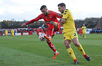 Alfreton Town's Curtis Bateson and Fleetwood Town's Lewis Coyle<br /> <br /> Photographer Rachel Holborn/CameraSport<br /> <br /> Emirates FA Cup First Round - Alfreton Town v Fleetwood Town - Sunday 11th November 2018 - North Street - Alfreton<br />  <br /> World Copyright &copy; 2018 CameraSport. All rights reserved. 43 Linden Ave. Countesthorpe. Leicester. England. LE8 5PG - Tel: +44 (0) 116 277 4147 - admin@camerasport.com - www.camerasport.com