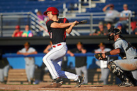 Batavia Muckdogs left fielder Walker Olis (3) at bat in front of catcher Chris Harvey during a game against the West Virginia Black Bears on August 21, 2016 at Dwyer Stadium in Batavia, New York.  West Virginia defeated Batavia 6-5. (Mike Janes/Four Seam Images)