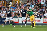Preston North End's Jayden Stockley and Millwall's Alex Pearce<br /> <br /> Photographer Rob Newell/CameraSport<br /> <br /> The EFL Sky Bet Championship - Millwall v Preston North End - Saturday 3rd August 2019 - The Den - London<br /> <br /> World Copyright © 2019 CameraSport. All rights reserved. 43 Linden Ave. Countesthorpe. Leicester. England. LE8 5PG - Tel: +44 (0) 116 277 4147 - admin@camerasport.com - www.camerasport.com
