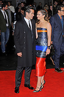 Colin Farrell and Ruth Wilson<br /> attending the 57th BFI London Film Festival Closing Night Gala World Premiere of 'Saving Mr Banks', Odeon Cinema, Leicester Square, London, England. <br /> 20th October 2013<br /> full length black orange blue grey gray  strapless stripe dress cuff bracelet coat suit profile <br /> CAP/MAR<br /> © Martin Harris/Capital Pictures