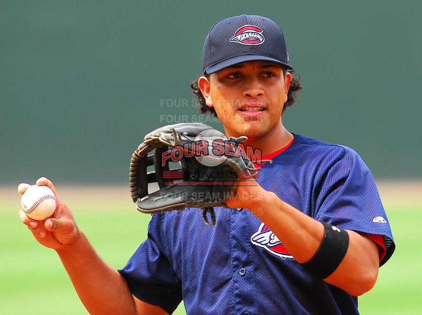 23 July 2007:  Manny Arambarris of the Greenville Drive Monday night, in a game to honor the Spartanburg Peaches and the city's baseball history. The Drive played the Savannah Sand Gnats. Photo by:  Tom Priddy/Four Seam Images