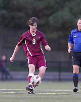 Harvard University midfielder Scott Prozeller (3) passes the ball. Boston College defeated Harvard University, 2-0, at Newton Campus Field, October 11, 2011.