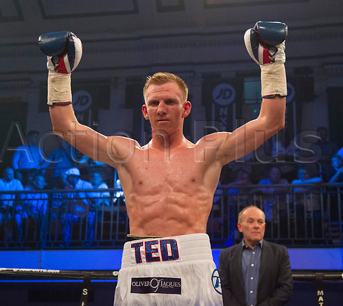 1st September 2017, York Hall, London, England; Matchroom Boxing, JD NXT GEN LONDON; Ted Cheeseman Versus Francesco Lezzi; Ted Cheeseman celebrates after his third round disqualification win against Francesco Lezzi