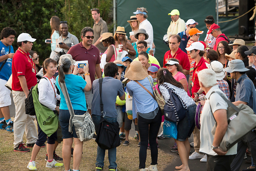KEY BISCAYNE, FL - March 26: The crowd mobs Kurumi Nara (JPN) after she defeats Caroline Garcia (FRA) 63 76(9) to advance to the 3rd round of the 2015 Miami Open at Key Biscayne, FL.  Photographer Andrew Patron - CameraSport/BigShots<br /> <br /> Tennis - 2015 Miami Open presented by Itau - Crandon Park Tennis Center - Key Biscayne, Florida - USA - Day 4, Thursday 26th March 2015<br /> <br /> &copy; CameraSport - 43 Linden Ave. Countesthorpe. Leicester. England. LE8 5PG - Tel: +44 (0) 116 277 4147 - admin@camerasport.com - www.camerasport.com