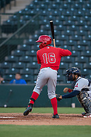 AZL Angels left fielder Datren Bray (16) at bat in front of catcher Felix Fernandez (9) during an Arizona League game against the AZL Indians 2 at Tempe Diablo Stadium on June 30, 2018 in Tempe, Arizona. The AZL Indians 2 defeated the AZL Angels by a score of 13-8. (Zachary Lucy/Four Seam Images)