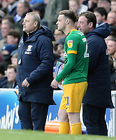 Preston North End's Brandon Barker receives final instructions before joining play in the second half<br /> <br /> Photographer Rich Linley/CameraSport<br /> <br /> The EFL Sky Bet Championship - Blackburn Rovers v Preston North End - Saturday 9th March 2019 - Ewood Park - Blackburn<br /> <br /> World Copyright © 2019 CameraSport. All rights reserved. 43 Linden Ave. Countesthorpe. Leicester. England. LE8 5PG - Tel: +44 (0) 116 277 4147 - admin@camerasport.com - www.camerasport.com
