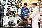 Fabio Sabatini (ITA) Quick-Step Floors and Mark Cavendish (GBR) Dimension Data try their hand at catching eels on stage before the Tour de France Saitama Crit&eacute;rium 2017 held around the streets os Saitama, Japan. 3rd November 2017.<br /> Picture: ASO/Pauline Ballet | Cyclefile<br /> <br /> <br /> All photos usage must carry mandatory copyright credit (&copy; Cyclefile | ASO/Pauline Ballet)