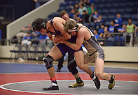 NWA Democrat-Gazette/BEN GOFF @NWABENGOFF<br /> Logan Schmidt of Bentonville and Bryce Arroyos of Fayetteville compete in the 132 weight class final Saturday, Feb. 11, 2017, during the Big West Conference wrestling tournament at Wolverine Arena in Centerton. Schmidt was the winner.