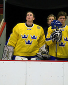 Stefan Steen (Sweden - 1), ?, Henric Andersen (Sweden - 10) - Sweden's Under-20 team defeated the Harvard University Crimson 2-1 on Monday, November 1, 2010, at Bright Hockey Center in Cambridge, Massachusetts.