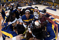 Reshanda Gray of California cheers for the team during huddle before the game against Long Beach State at Haas Pavilion in Berkeley, California on November 8th, 2013.  California defeated Long Beach State, 70-51.