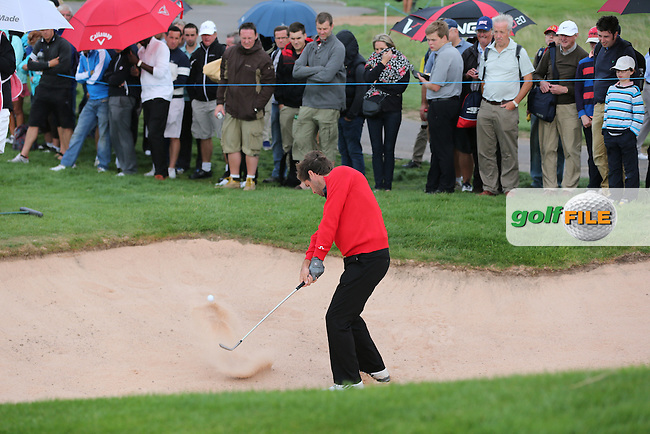 Robert Rock (ENG) out of the bunker at the 13th during Round Two at the 2013 ISPS Handa Wales Open from the Celtic Manor Resort, Newport, Wales. Picture:  David Lloyd / www.golffile.ie
