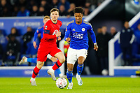 4th January 2020; King Power Stadium, Leicester, Midlands, England; English FA Cup Football, Leicester City versus Wigan Athletic; Demarai Gray of Leicester City on the ball - Strictly Editorial Use Only. No use with unauthorized audio, video, data, fixture lists, club/league logos or 'live' services. Online in-match use limited to 120 images, no video emulation. No use in betting, games or single club/league/player publications