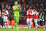 Arsenal's goalkeeper Bernd Leno celebrates after his team win the Premier League match at the Emirates Stadium, London. Picture date: 7th March 2020. Picture credit should read: Paul Terry/Sportimage