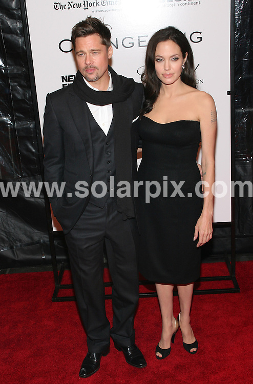 **ALL ROUND PICTURES FROM SOLARPIX.COM**.**SYNDICATION RIGHTS FOR UK, SPAIN, PORTUGAL, AUSTRALIA, S.AFRICA & DUBAI (U.A.E) ONLY**.The 46th New York Film Festival the Changeling film Premiere at the Ziegfeld Theatre at 141 West 54th Street in New York City in the USA..This pic:Brad Pitt and Angelina Jolie..JOB REF:7522- PHZ/Sylvain Gaboury   DATE:04_09_08 .**MUST CREDIT SOLARPIX.COM OR DOUBLE FEE WILL BE CHARGED* *UNDER NO CIRCUMSTANCES IS THIS IMAGE TO BE REPRODUCED FOR ANY ONLINE EDITION WITHOUT PRIOR PERMISSION*