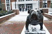 Snow Day on campus - Union Bully statue.<br />  (photo by Megan Bean / &copy; Mississippi State University)