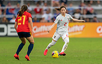 ORLANDO, FL - MARCH 05: Risa Shimizu #2 of Japan dribbles during a game between Spain and Japan at Exploria Stadium on March 05, 2020 in Orlando, Florida.