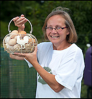 BNPS.co.uk (01202 558833)<br /> Pic: PhilYeomans/BNPS<br /> <br /> Julie has more eggs from her guest's than she know's what to do with.<br /> <br /> Fowlty Towers - Egg-ceptional new hotel for hens.<br /> <br /> The boom in hen keeping across Britain has led a canny Kent lady to spotting a gap in the market for a deluxe hotel for punters beloved poultry whilst they jet off on their summer hols. <br /> <br /> Julie Smith from Cowden is inundated with requests for 'rooms' at 'Fowlty Towers', with customers booking months in advance to secure a spot for their prized birds. <br /> <br /> Julie's all-inclusive resort costs a poultry &pound;7 a night for each run, with round the cluck service including all food and drink.