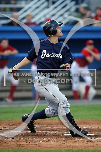 July 23 2008:  Chris White of the Oneonta Tigers, Class-A affiliate of the Detroit Tigers, during a game at Dwyer Stadium in Batavia, NY.  Photo by:  Mike Janes/Four Seam Images