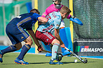 GER - Mannheim, Germany, May 05: During the men field hockey 1. Bundesliga match between Mannheimer HC (navy blue) and Uhlenhorster HC Hamburg (light blue) on May 5, 2018 at Am Neckarkanal in Mannheim, Germany. Final score 3-2. (Photo by Dirk Markgraf / www.265-images.com) *** Local caption *** Mueller, Hannes Wulf #25 of Uhlenhorster HC Hamburg, Christopher Held #3 of Mannheimer HC