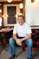 Thierry Paludetto, head chef, poses for the photographer, Bouchon restaurant, Monaco, 23 March 2012