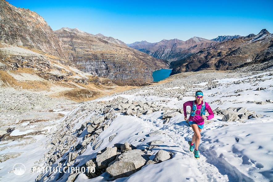 Trail running around the Zervreilahorn, from Vals, in the Graubünden region of Switzerland.
