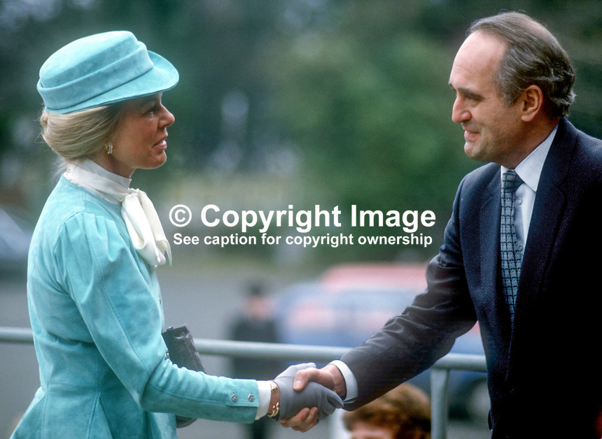 Duchess of Kent meets N Ireland Office Minister Brian Mawhinney during her March 1986 visit to the Province. 19860205DK6<br />