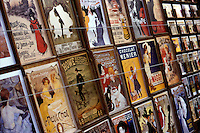 Close-up of vintage Montmartre posters, Paris, France
